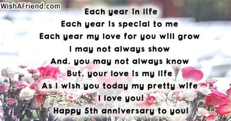 Each year in life , 5th Anniversary Poem