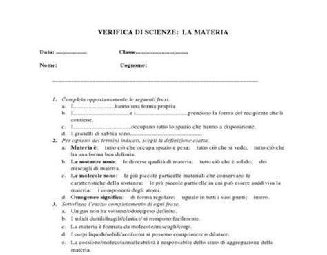 test ingresso scienze naturali la materia verifica classe 1 176 scientificando