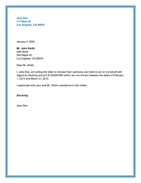 authorization letter template 10 best authorization letter sles and formats