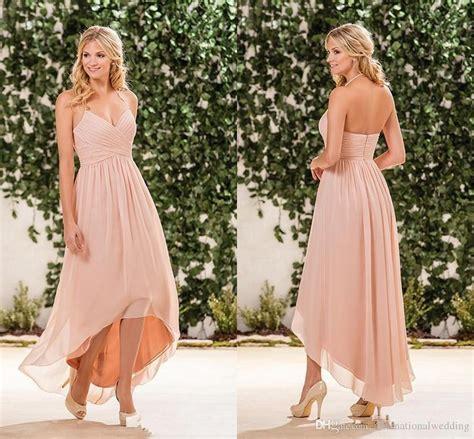beach wedding dresses guest 2017 2017 cheap beach blush pink bridesmaid dresses halter