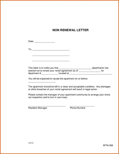 Not Renewing Lease Letter