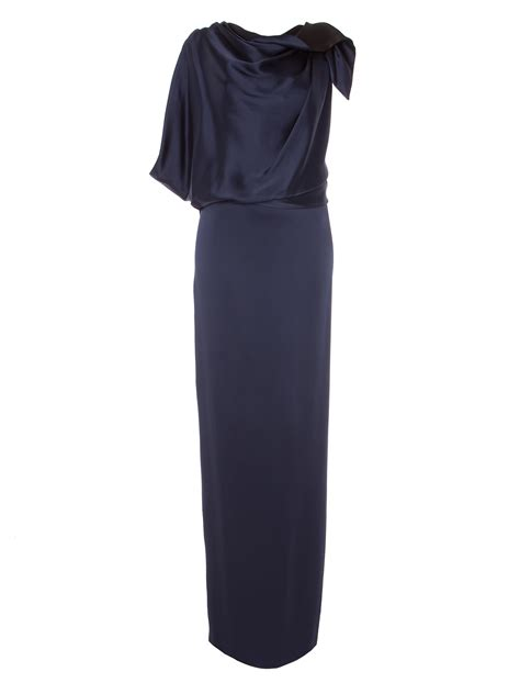 y drape dress temperley london bicolour long carmel drape dress in blue