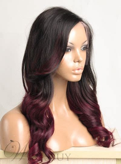 ombre hair color long wavy  human hair full lace wig  inches  wigsbuycom