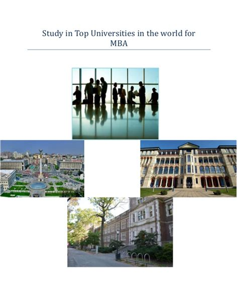 Mba Best Schools In The World by Top Universities In The World For Mba