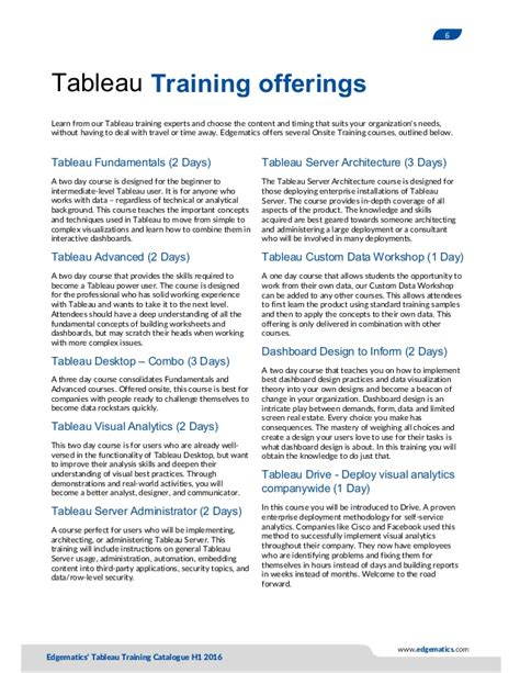 tableau tutorial training edgematics tableau training catalogue2016 v1
