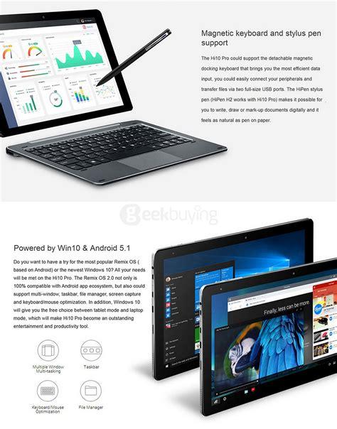 Tablet Pc Chuwi Hibook Pro 2in1 Ultrabook Type C 4gb 64gb 101 Gray chuwi hi10 pro 2 in 1 ultrabook tablet pc gray