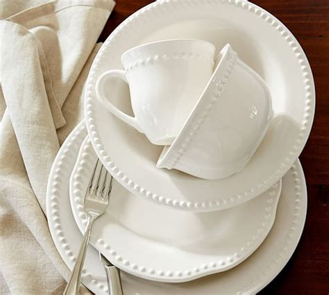 pottery barn china emma dinnerware 16 piece set with soup bowl white