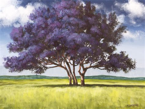 acrylic paint trees jacaranda painting lesson on dvd tim gagnon studio