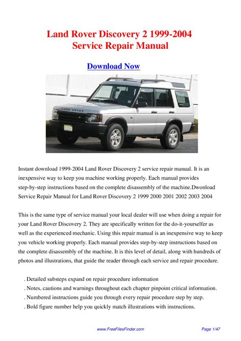 free service manuals online 1999 land rover discovery series ii engine control land rover discovery 2 1999 2004 service repair manual by