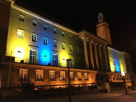 Norwich Sheds by Norwich Buildings Light Up In Yellow And Blue In Support