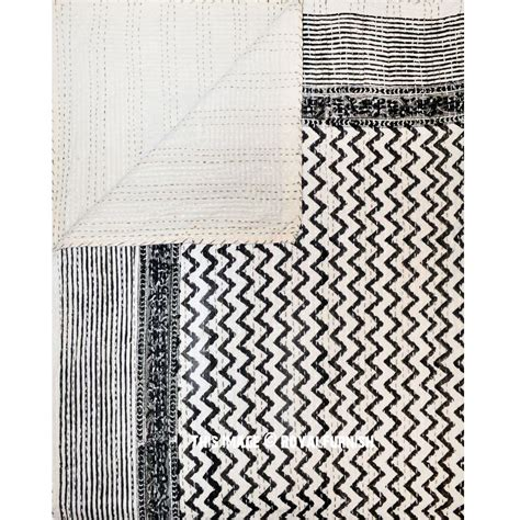 zig zag pattern sheets black and white zig zag patterned cotton kantha quilted