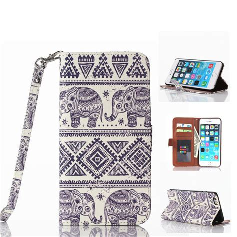 Tempered Glass And Painted Phone Iphone 6 Plus 001 1 elephants painted pattern leather cell phone for