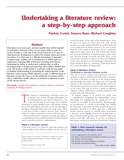 undertaking  literature review  step  step approach