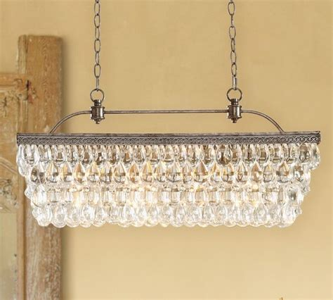 Pottery Barn Dining Room Lighting Clarissa Glass Drop Rectangular Chandelier Transitional Chandeliers By Pottery Barn