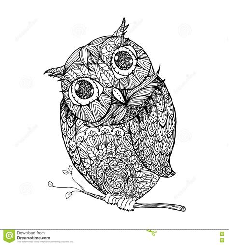 z coloring book for and adults 40 illustrations books zentangle style owl illustration with ornanets fill for