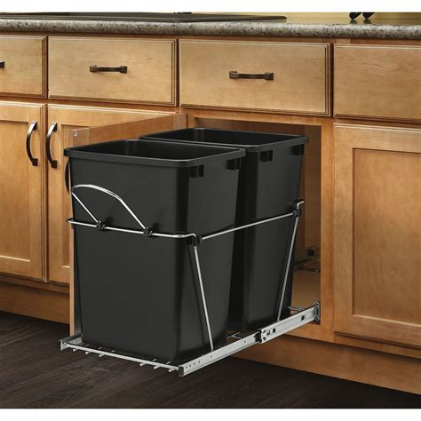 cabinet trash can kit shop rev a shelf 35 quart plastic pull out trash can at