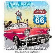 EPS Vector Of Route 66 Classic Car  Vintage