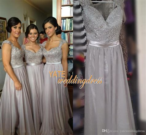 Bridesmaid Dress Patterns With Lace - on sale silver chiffon lace bridesmaid dresses cap sleeve