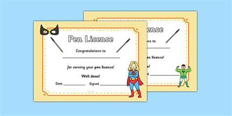 superhero themed pen license certificate superhero pen