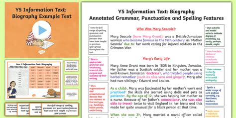 biography text exles ks2 y5 information text biography model exle text exle