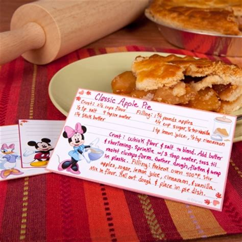 printable disney recipes mickey friends autumn recipe cards disney family