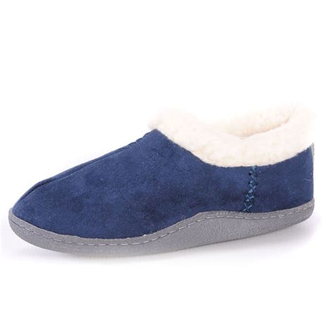 fur trim lined slip on low boot slippers bedroom shoes