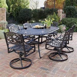 Patio Dining Sets With Swivel Chairs Home Styles 555 Biscayne 7 Outdoor Oval Dining Set