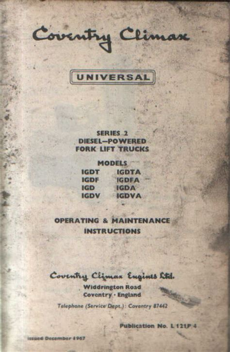 coventry climax universal forklift operators manual