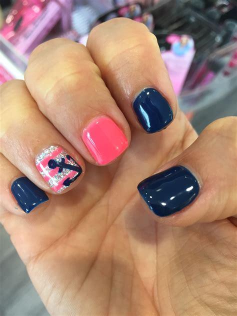 spring pattern nails anchor nail design manicure gel shellac polish spring