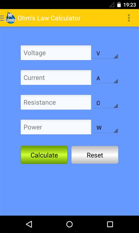 calculator ohm ohm s law calculator guide android apps on google play