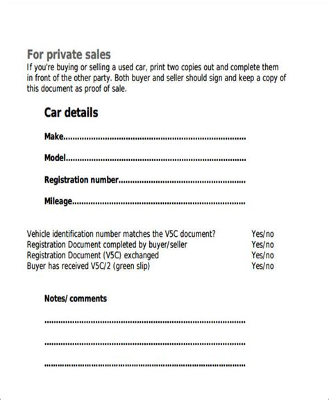 Receipt Of Purchase Template Vehicle by 6 Auto Sales Receipt Sles Sle Templates