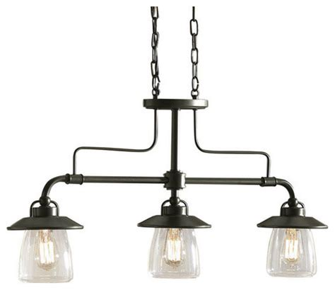 Kitchen Chandelier Lowes Allen Roth Bristow Mission Bronze Kitchen Island Light With Clear Shade Farmhouse Chandeliers