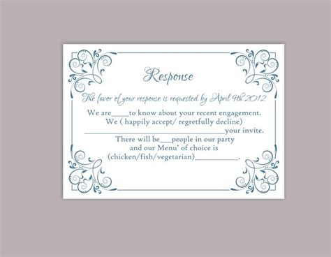 Diy Rsvp Wedding Cards Template by Diy Wedding Rsvp Template Editable Word File Instant