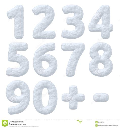 Set Snowy snow numbers set stock illustration image of alphabet 61788730