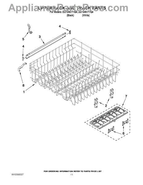 whirlpool dishwasher rack parts parts for whirlpool du1345xtvb4 upper rack and track parts appliancepartspros com