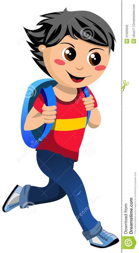 Tas Mr Go gelukkig boy met schooltas die naar school gaan