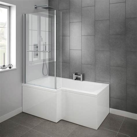 milan shower bath 1500mm l shaped inc hinged screen with rail panel