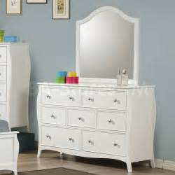 dominique youth dresser and mirror set in white