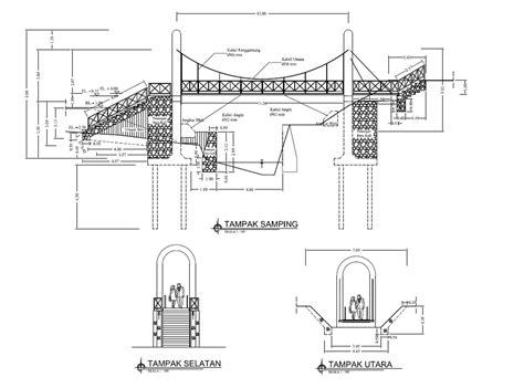 Desain Jembatan Gantung | gambar desain karya bidang teknik sipil jembatan