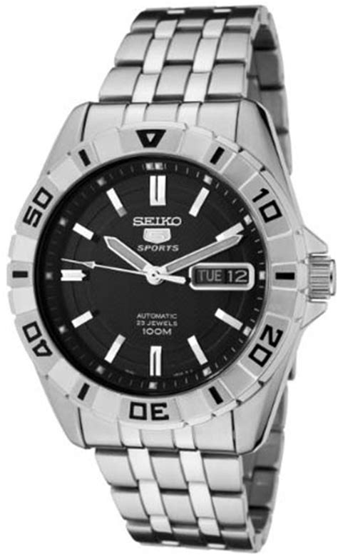 seiko snzh75 mens stainless steel seiko 5 sports automatic black rotating bezel