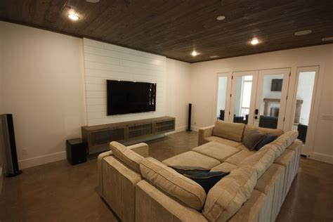 shiplap tv wall floating media stand polished concrete