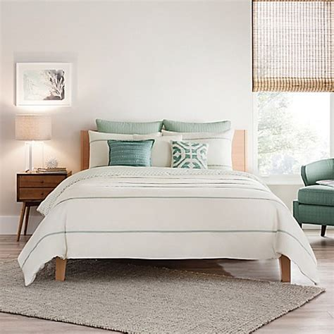 real simple bedding real simple 174 corra reversible duvet cover in cream seafoam