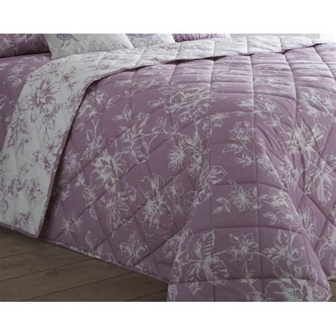 dreams n drapes chepstow mauve floral reverible quilted