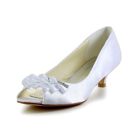 Women's Satin Kitten Heel Peep Toe Sandals Wedding Shoes