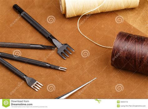 Handmade Leather Tools - handmade leather craft tool stock photo image 33034110