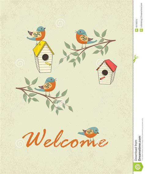 welcome card design template card with bird house stock vector illustration of house