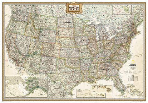 the way laminated national geographic reference map books united states executive enlarged and laminated