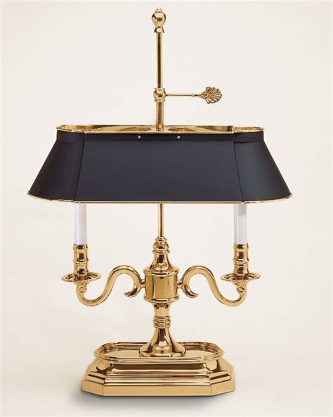 Brass Table L With Black Shade by Black Shade Table L