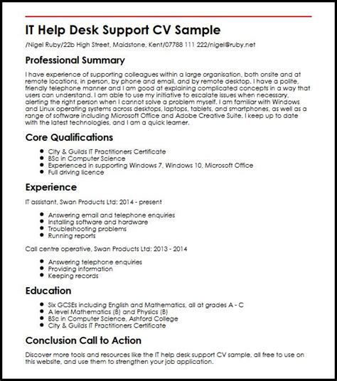 Resume Sle For It Support Help Desk Resume Summary 28 Images Help Desk Technical Support Resume Best Help Desk