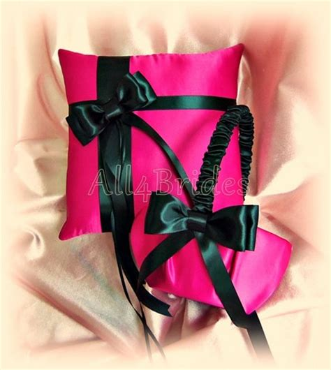 fuchsia and black wedding ring bearer pillow and flower girl basket all4brides wedding on